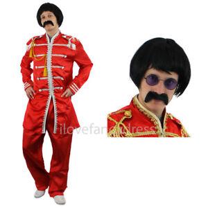 60'S SERGEANT SGT PEPPER COSTUME HIPPY FANCY DRESS COSTUME ADD WIG TASH GLASSES