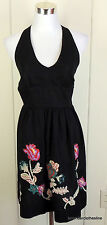 Suzi Chin 6 Black Embroidered Floral Linen Halter Sun Dress Cocktail