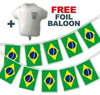 Football World Cup 2018 Set - Brazil Flags - bunting + free foil balloon