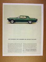 1963 Lincoln Continental green sedan car photo vintage print Ad