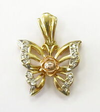 14k Yellow Gold Rose Flower Butterfly Charm Necklace Pendant ~ 3.1g