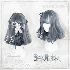Lolita Cosplay Harajuku Couples Black Gray Mixed Gradient Curly Hair Short Wig #