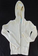 OLD NAVY Girl's Yellow Chunky Knit Hooded Zip Cardigan Sweater Size Medium