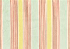 6.50 Yds Braemore Fabric Mint Coral Gold Stripped Cotton  Drapery Upholstery