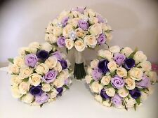 IVORY LILAC VIOLET ROSE PCKAGE 8 PIECE WEDDING  BOUQUET ARTIFICAL SILK FLOWER