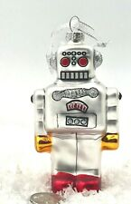 """Christmas Ornament RETRO TOY ROBOT Hand-Painted SILVER Glitter GLASS 4.25"""""""