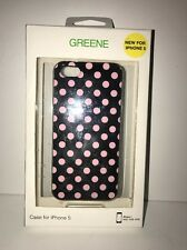 GREENE for iPhone 5 16/32/64 GB Cell Phone Case BLACK/PINK DOT NEW Boxed