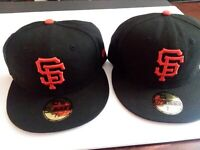 New Era San Francisco SF Giants 59Fifty Fitted Hat Cap 7 1/4 lot of 2 Excellent