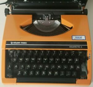Vintage Silver-Reed Silverette Portable Typewriter II (ORANGE) With COVER CASE