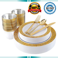 180pcs Plastic Gold L|ace Plates, Gold Plastic Silverware Durable Wedding