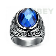 Mens women Stainless Steel Ring Celtic Knot Moire College Style Blue sapphire CZ