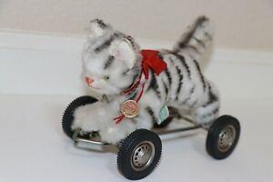 Hermann Grey Tabby Cat Pull Toy (on wheels) 1980's