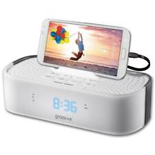 Groov-e GVSP406/WH TimeCurve Alarm Clock Radio with USB Charging Station - White