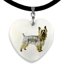 Australian Silky Terrier Natural Mother Of Pearl Heart Pendant Necklace Pp78