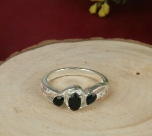 Black Onyx Topaz Gemstone 925 Sterling Silver Solitaire Ring For Girl Friend