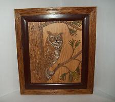 Owl Art, PYROGRAPHY Folk Art, GREAT HORNED OWL, signed Gerald A. Rau