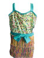 Girls Dress Curtain Call Costume Dance Sequin Fringe Bow Multi-color Medium