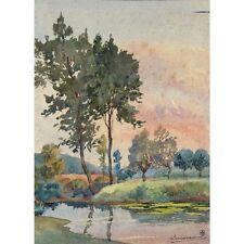 Antique FrenchWatercolor,Spring Landscape, Pond at Sunset, Signed L. Moreau