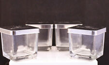 Mini Glass Jars with Silver Covers-3oz. Royal Velvet, Set Of 4