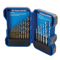 19pc HSS Titanium & TCT Masonary / Masonry Brick Metal Wood Drill Bit Set New