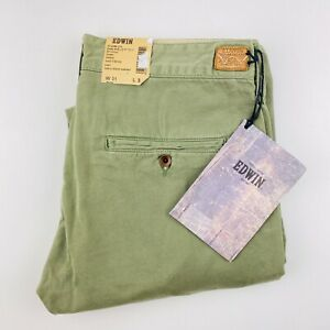 Edwin Japan Men's Chino Cadet Pants Trousers Stone Wash Army Green Leaf 31 x 32