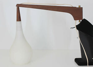 50's Mid Century Danish Modern Hanging Pendant Glass Wall Sconce Lamp Light Teak