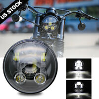 """Black 5-3/4"""" 5.75 LED Headlight High Low for Harley Sportster XL 883 1200 Dyna"""