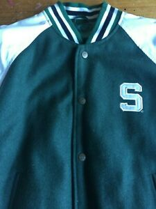 Medium Charcoal Grey Michigan State Spartans NCAA by Outerstuff NCAA Youth Boys Letterman Varsity Jacket 10-12