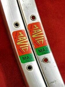 1 Pair 1980's Vintage Mavic MA2 Silver 700C Clincher Rims 36 H @450 gr Presta