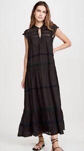 Free People Maxi Midi Dress Midnight Midi Tiered Lace Trim Slip w/ Black M NEW