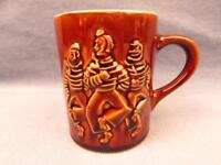 Hall Potteries Men Dancing Brown Coffee Cup Mug b12