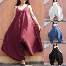 32066288aad1 Womans V-Neck Loose Harem Jumpsuit Baggy Rompers Ladies Wide Leg Maxi  Playsuit