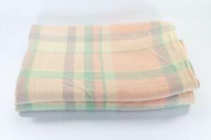Vintage Pure Wool Pastel Pink Violet Mint Apricot & White Blanket 186cm x 170cm