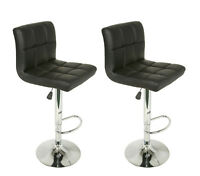 Set of 2 Adjustable Swivel Bar Stools Faux Leather Square Stitch Red Black White