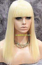 Full Wig Long Straight With Bangs Bleach Blonde HEAT OK #613 NWT