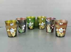 6 Antique Fenton Carnival Glass Hand Painted Flowers Prism Tumblers Blue Green