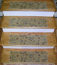"Rug Depot Set of 13 Traditional Non Slip Carpet Stair Treads 26"" x 8"" Light Gold"