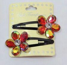 Jumbo Sparkle Gem Flower Fashion Hair clip set 2Pcs Red