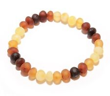 Genuine RAW Baltic Amber Beads Adult Bracelet Mixed Stretch 6 g Unpolished