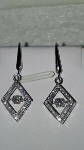 925 STERLING SILVER RHODIUM PLATED DIAMOND STYLE MOVING STONE DROP EARRINGS