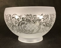 "4"" fitter FROSTED SATIN ETCHED GLASS  FIXTURE LAMP SHADE CLEAR FILIGREE #FS511I"