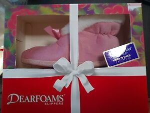 Vintage  New DEARFOAM sippers velour Boot Women's Size 7 from 1995 Pink w/ White
