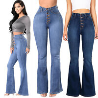 Women Skinny Flare Denim Jeans High Waisted Bell Bottom Stretch Pants Trousers