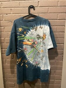 Vintage Star Wars Millenium Falcon Double Sided Liquid Blue Shirt - XL