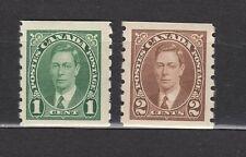 "1937 #238 1¢ & #239 2¢ KING GEORGE VI ""MUFTI"" COILS F-VFNH"