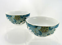222 Fifth Eliza Teal Cereal Soup Bowls Set of 2 Blue White