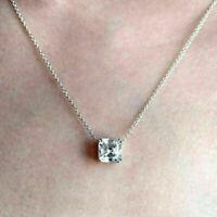 """2 Ct Asscher Cut Diamond Solitaire Pendant 18 """"Necklace 14k White Gold Finish"""