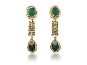 Indian Jhumka Statement Long Earrings Bollywood Designer Gold Plated Jewelry Set