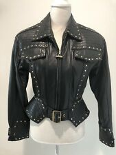 BLACK LEATHER / GOLD STUDDED WOMENS ZIP JACKET BY NEVADA BLUE- STUNNING SZ S