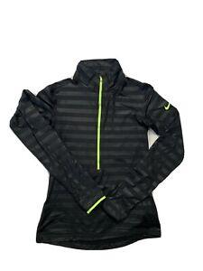 Nike Pro H-67 Dri Fit Womens Quarter Zip Long Sleeve Size Large Black Athletic